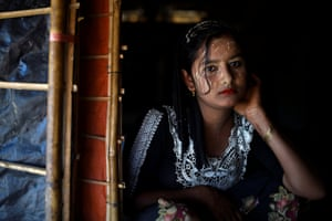 Juhara Begum, aged 13. 'I could not live there because of the military so I came here. Military fired guns and slaughtered us. We walked a long way, it took five days to walk to the border. We were not at peace in Myanmar but we are at peace here. I want make up and I want clothes, the make up is my hobby and tradition. I can live without eating rice but I cannot live without makeup'
