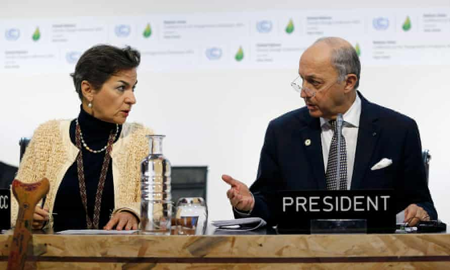 Christiana Figueres (left), and Laurent Fabius: World Resources Institute's Jennifer Morgan says there has been 'very significant progress' on climate change deal.