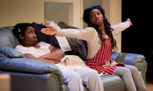 Susan Wokoma and Michaela Coel in Three Birds at the Bush theatre, by Bruntwood prize-winner Janice Okoh.
