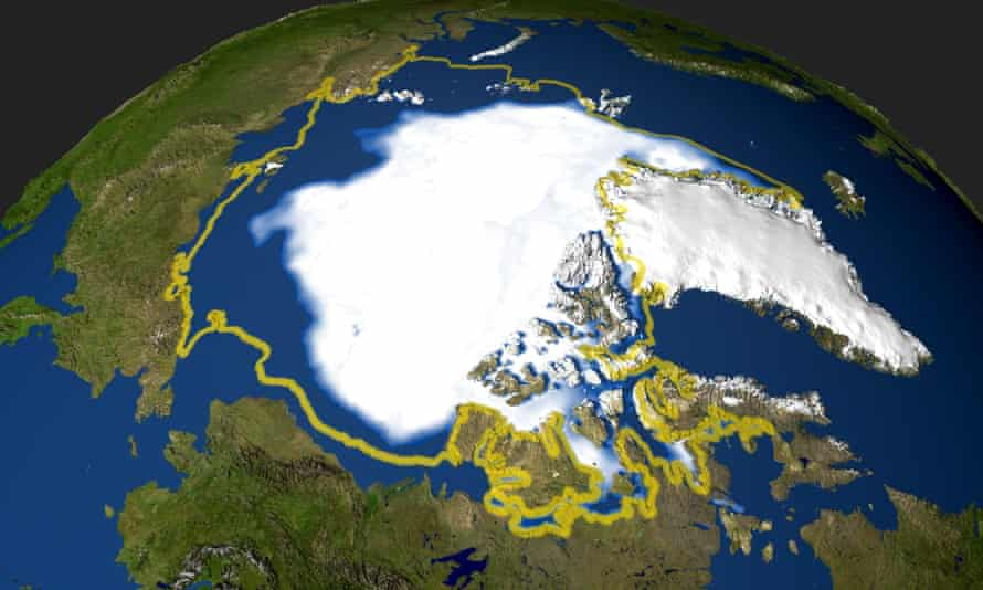 Nasa satellite photo of the minimum extent of Arctic sea ice in 2005 that occurred on September 21, when the sea ice extent dropped to 2,05 million square miles (53 094 969 million square kilometers).