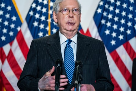Mitch McConnell's hands appear bruised as he speaks in Washington DC, on 20 October.