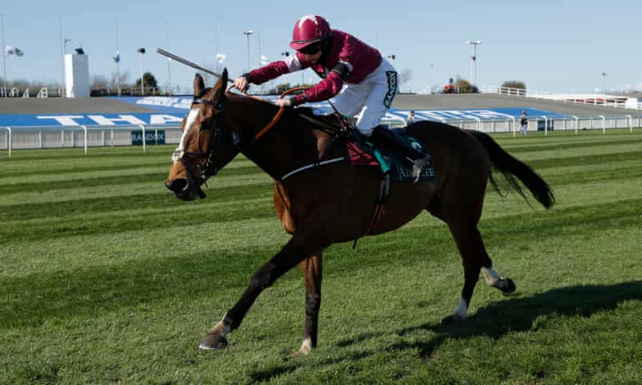 Rachael Blackmore on Notebook in the Melling Chase on day two of the Grand National meeting.