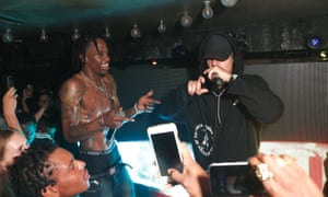 Travis Scott (left) and Justin Bieber at the Rodeo release party in New York