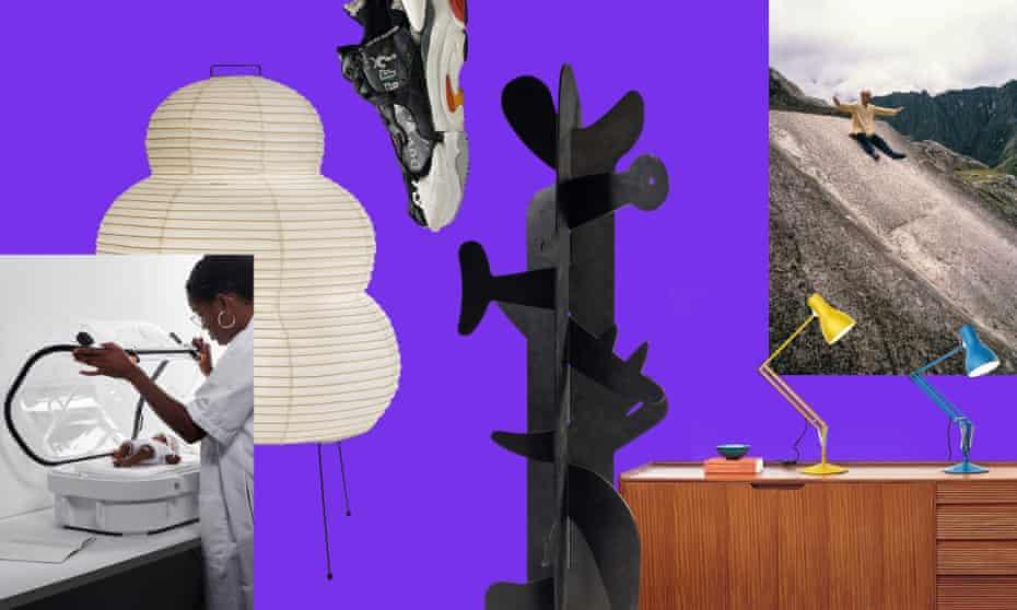 Composite image showing from left to right, Robust Nest, Noguchi lamp, Helen Kirkum shoe, Noguchi sculpture, the Anglepoise lamp, portrait of artist Isamu Noguchi