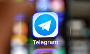 The icon of the popular messaging app Telegram on a smartphone screen
