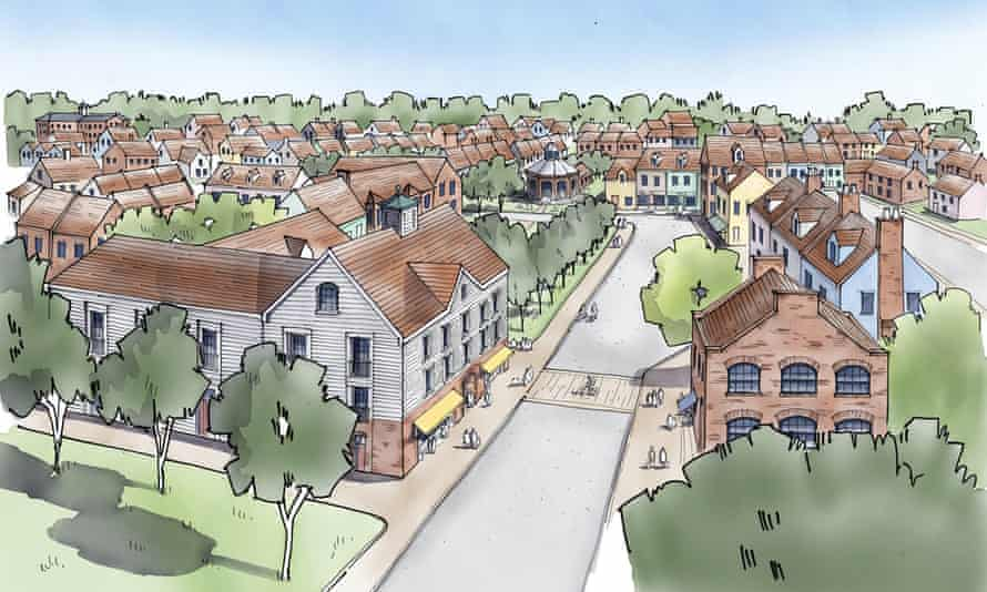 Sketches of the proposed new town of Kingswood, near Horsham in Sussex.