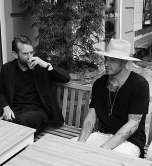 Nicklas Bendtner with Rune Skyum-Nielsen, who co-wrote his autobiography Both Sides.