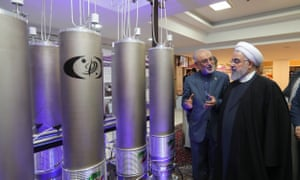 Iran's President Hassan Rouhani (right) with the nuclear technology head Ali Akbar Salehi in April 2019.