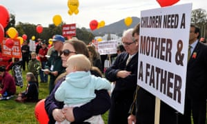 Protesters listen on during a rally opposing same-sex marriage in Canberra in 2012.