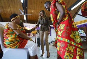 Trump greets Cape Coast Fante chieftains during the ceremony in Obama Hall at the palace.