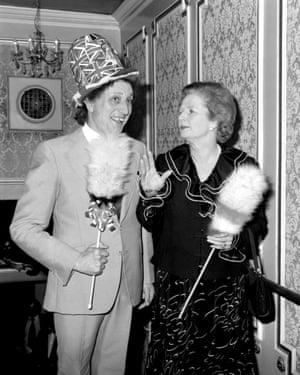 Ken Dodd with Margaret Thatcher at the London Palladium in 1980