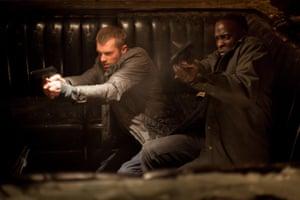 With Joel Kinnaman in a scene from the Robocop film reboot, 2014