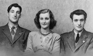 Olwyn Hughes, centre, with her brothers, Ted, right, and Gerald.