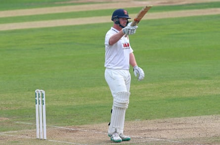 Simon Harmer celebrates after scoring a half century for Essex against Yorkshire in the last match of the season.