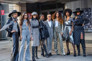 Tommy Hilfiger and Zendaya are flanked by models including Winnie Harlow, Halima Aden and Ebonee Davis outside the Apollo.