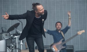 Thom Yorke performing with Radiohead at Glastonbury in 2017.