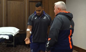 Taniela Tupou (left) displays his arm injuries after he was the victim of a robbery in Johannesburg.