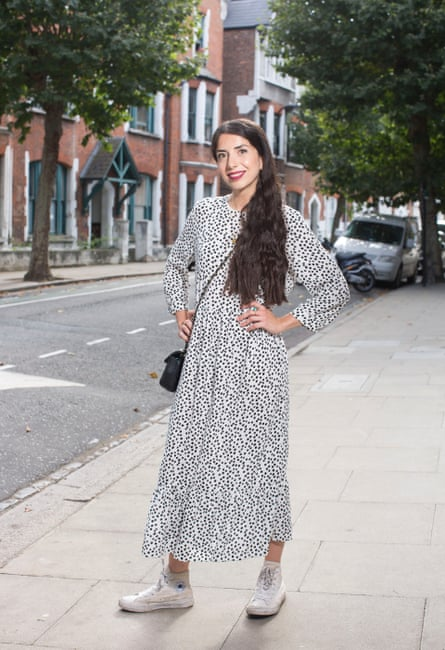 Sirin Kale tries the Zara dress for herself.