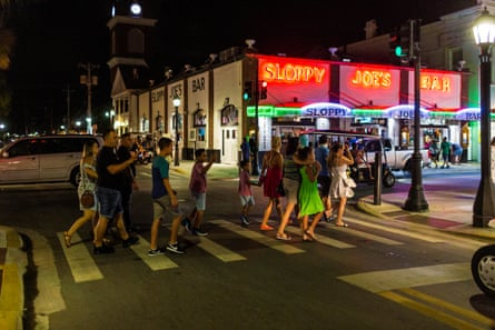 Dozens of people walking in the downtown area in Duval Street in Key West, Florida on September 18, 2020. Photograph: Saul Martinez