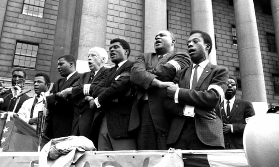 James Baldwin (far right) with other civil rights activists, 1963.