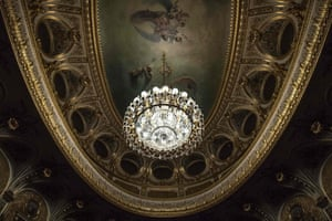 Fontainebleau, France The ceiling of the restored imperial theatre at Fontainebleau Palace, south-east of Paris