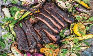 Grill power: barbecued ribs with salad.