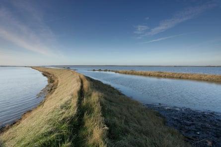 Sea defences on Wallasea Island, Essex.