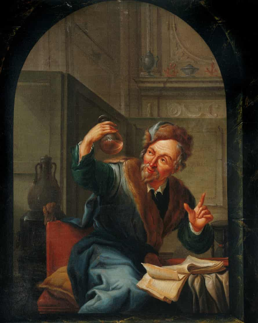 Painting by Willem Joseph Laquy (1780) showing a physician looking at a flask of urine.