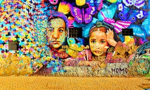 Moroccan women depicted in street art on a wall in Casablanca