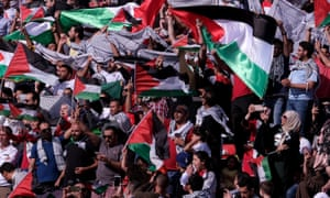 Palestine fans cheer on their side during an Asian Cup group match against Australia in January.