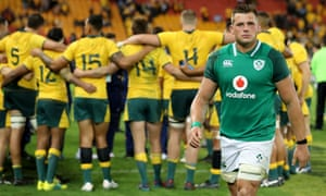 A dejected CJ Stander trudges off the pitch.