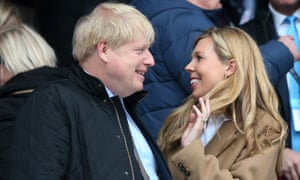 Boris Johnson and Carrie Symonds at a rugby match in March.