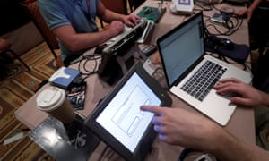Hackers try to access and alter voter data at the Def Con convention last year.