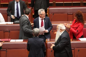 David Smith is congratulated by his colleagues after making his first speech