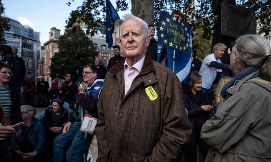 John le Carré at a pro-EU rally, Parliament Square, London, in October 2019.