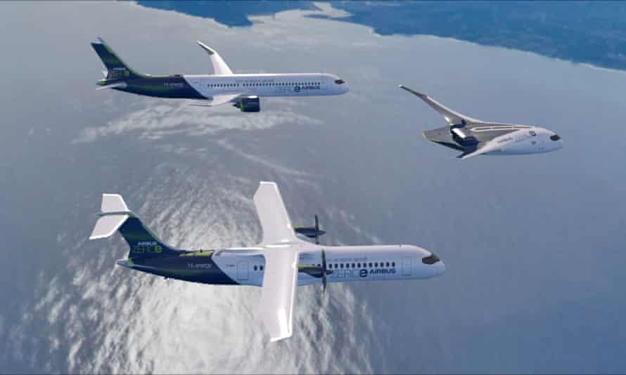 Impresión artística de tres aviones de concepto Airbus Zero, que son vehículos híbridos de hidrógeno.