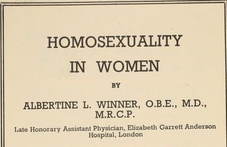 Homosexuality in Women report 1947.
