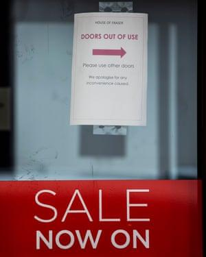 Broken door at the House of Fraser store on Victoria Street, in Wolverhampton.