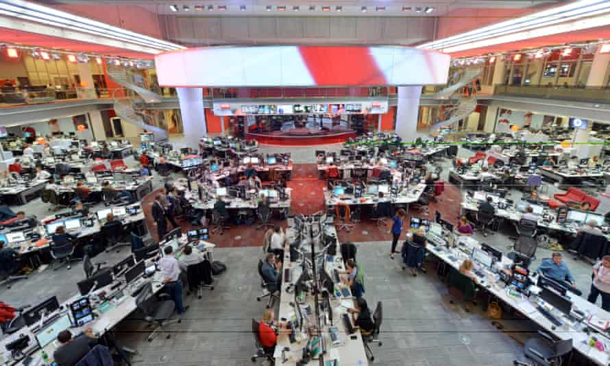 The BBC newsroom in New Broadcasting House