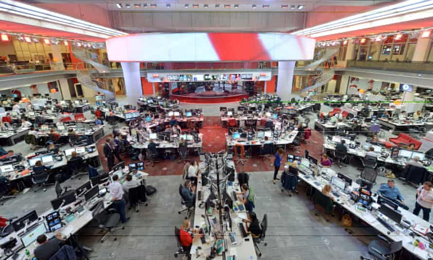 the newsroom at new broadcasting house in london