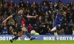 Callum Hudson-Odoi fires home Chelsea's second goal against Sheffield Wednesday.