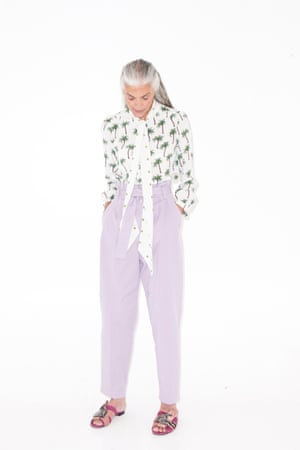 white, green and brown palm tree print blouse Tabitha Webb, pale purple trousers Mango, pink sliders with jewelled embellished straps Kurt Geiger