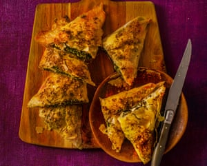 David Tanis's filo pastries with mustard greens and za'atar.