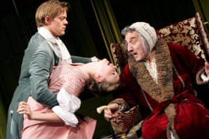 Carey Mulligan with Kris Marshall and Henry Goodman in The Hypochondriac at the Almeida in 2005.