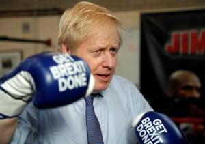Boris Johnson at Jimmy Egan's Boxing Academy on November 19.