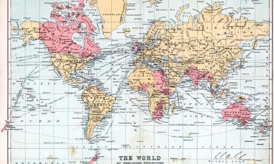 A 1900 map of the world, with territories of the British empire highlighted in red