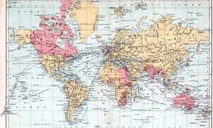 Mercators Projection color map of the World w. ter<br>UNSPECIFIED - 1900:  Mercators Projection color map of the World with territories of the British Empire highlighted.  (Photo by Mansell/Mansell/Time & Life Pictures/Getty Images)