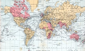 Mercators Projection color map of the World w. terUNSPECIFIED - 1900: Mercators Projection color map of the World with territories of the British Empire highlighted. (Photo by Mansell/Mansell/Time & Life Pictures/Getty Images)