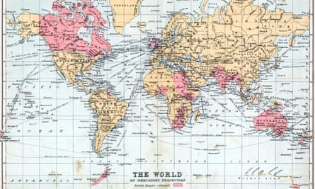 1900 map of the World, with territories of the British Empire highlighted.