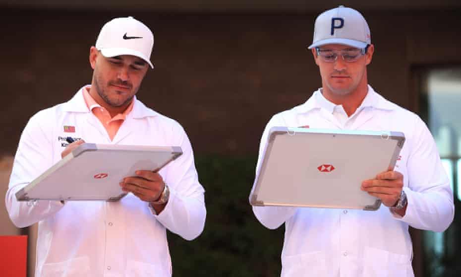 Brooks Koepka and Bryson DeChambeau in calmer times at the Abu Dhabi HSBC Championship